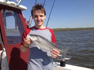 Maxx with his first Maryland Striper!!!!