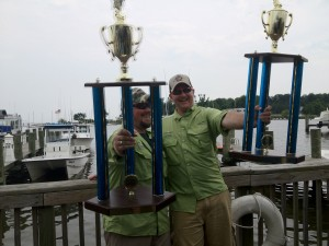 "Mike with his ""Biggest Fish"" Trophy and another angler with the ""most fish"" trophy!"