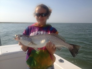 Maria with an incredibley nice Speckled Sea trout