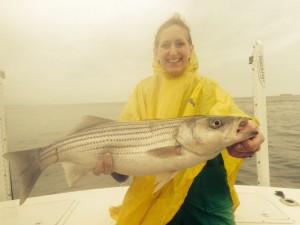 Mary from Michigan with a great Striper!