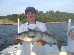 Niko with a nice surface plugged Striper!  He had the hot stick today!  Many keeper Stripers, blues galore and a Mac to boot!
