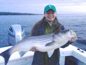 A great light tackle caught Striper for Amanda.....way to go!